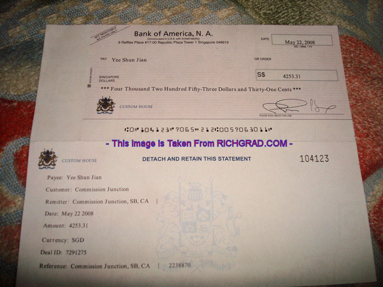 Affiliate Cheque From Commission Junction (May)