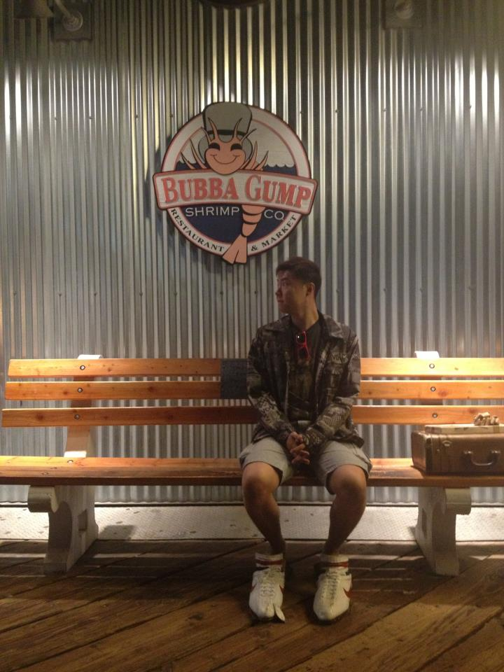Reenacting the Scene from Forrest Gump at Santa Monica Pier